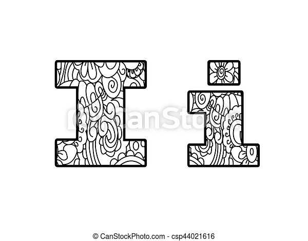 Anti Coloring Book Alphabet The Letter I Vector Illustration
