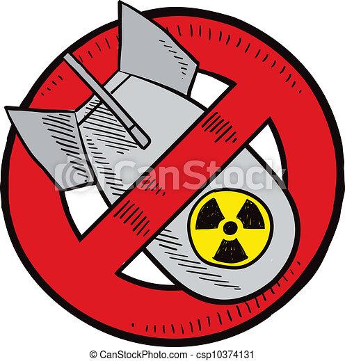 anti-nuclear, armas, esboço - csp10374131