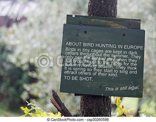 Anti song bird hunting notice. - csp30260598