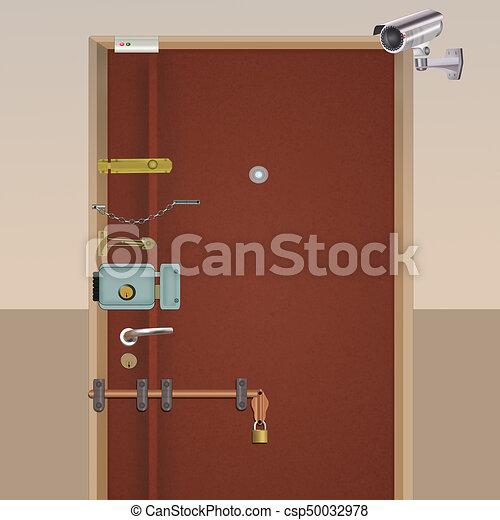 Anti-thieves armored door - csp50032978 & Illustration of anti-thieves armored door stock illustrations ...