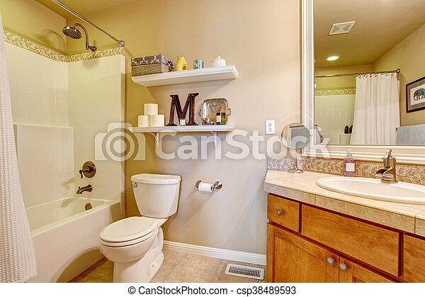 anticaglia, bagno, confortevole, mensole, wall., toni, interno, bianco - csp38489593
