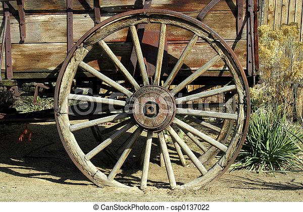 anticaglia, carro, vecchio, ruota - csp0137022