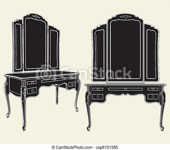 anticaglia, commode, specchio - csp6151585