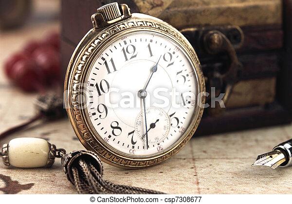 anticaglia, decorazione, orologio, tasca, oggetti, retro - csp7308677
