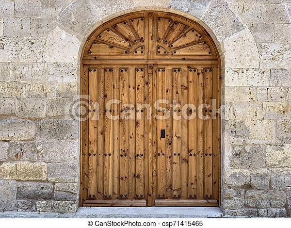 anticaglia, legno, pietra, porta, parete - csp71415465