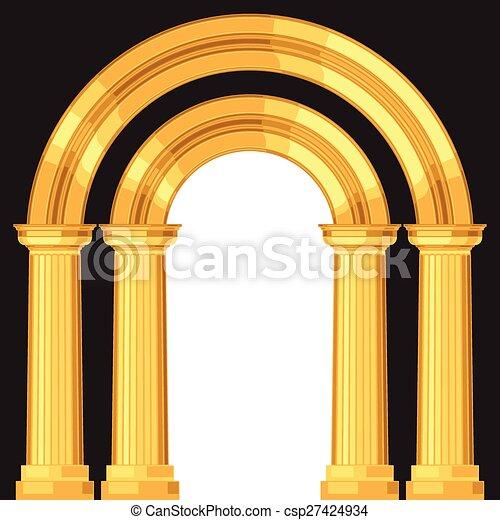 anticaglia, realistico, dorico, greco, arco, colonne - csp27424934
