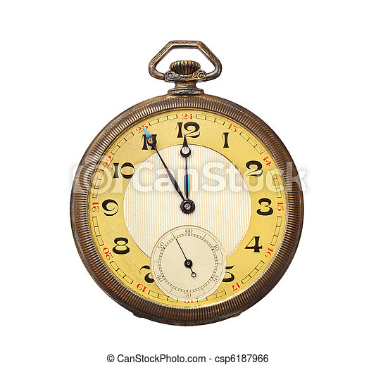 anticaglia, ritaglio, vecchio, orologio, isolato, tasca, fondo., included., percorso, bianco - csp6187966