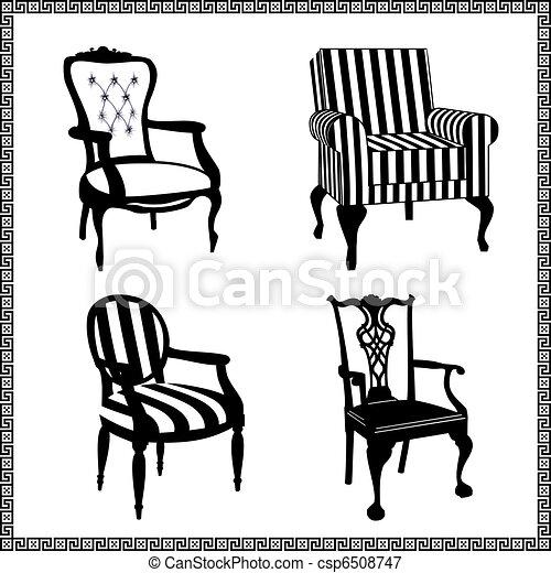 anticaglia, sedie, silhouette, set - csp6508747
