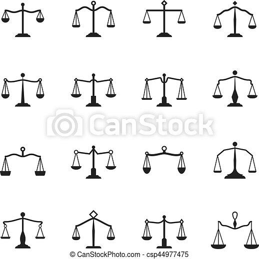 Anticaglia Set Scale Giustizia Icons Bilancia Vettore Segni
