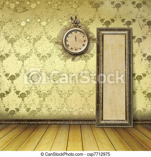 anticaglia, stanza, orologio, parete, faccia, laccio - csp7712975