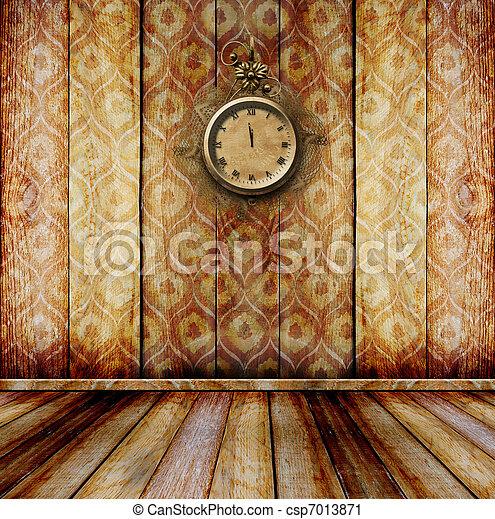anticaglia, stanza, orologio, parete, faccia, laccio - csp7013871