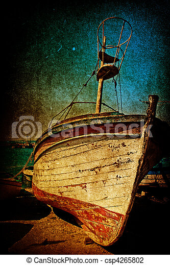 anticaglia, stile, grunge, naufragio, arrugginito, barca - csp4265802