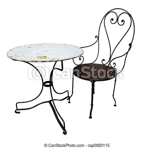 anticaglia, tavola, sedia, metallo - csp0920115