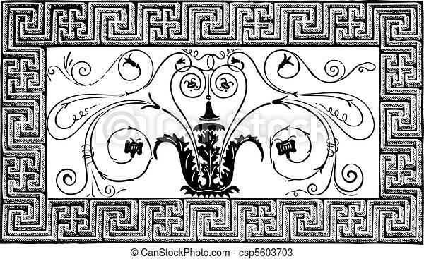 antico, volutes, romano, parigi, pittoresque, patterns., dettaglio, geometrico, rivista, le, disegno, 1840, foliated, fatto, bordo, mosaico, magasin - csp5603703