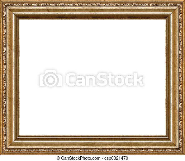 antieke , afbeelding, gouden, frame, vrijstaand, rustiek - csp0321470