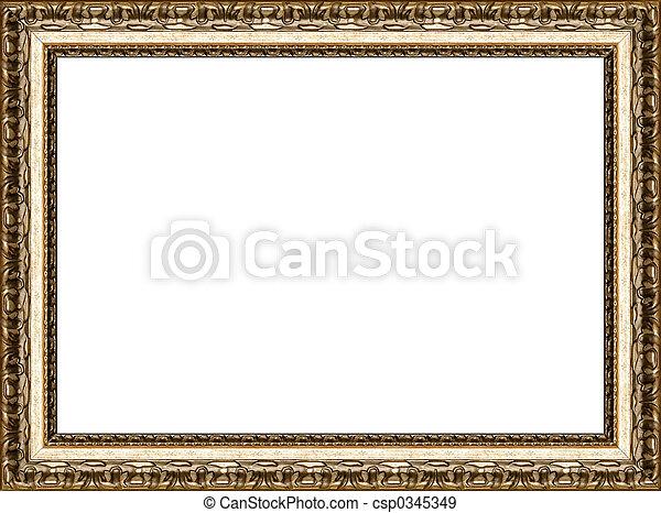 antieke , afbeelding, gouden, frame, vrijstaand, rustiek - csp0345349