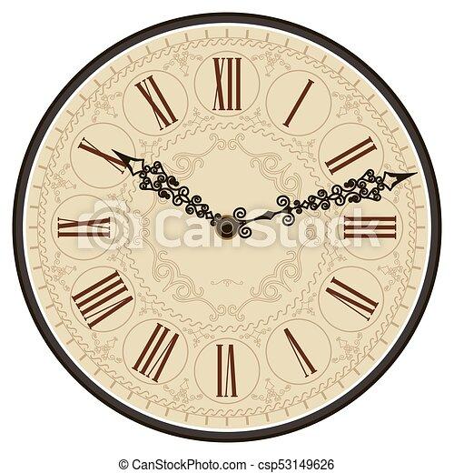Verwonderend Antieke , face., vector, oud, klok EPS Vector | csp53149626 YN-87