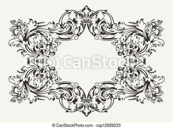 antieke , hoog, frame, oud, sierlijk - csp12939233