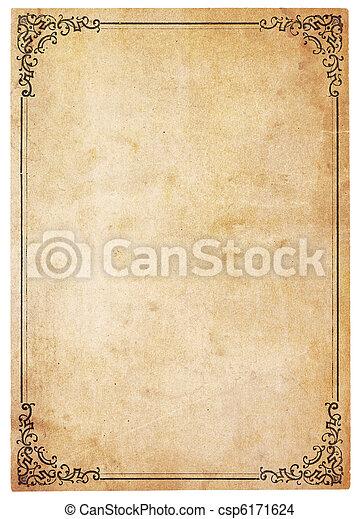 antieke , ouderwetse , papier, grens, leeg - csp6171624