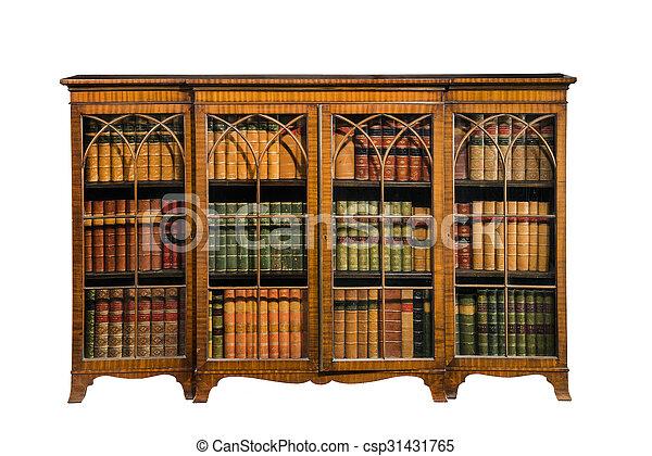 Antieke , ouderwetse , vrijstaand, kabinet, glas, boekenkast, deuren ...