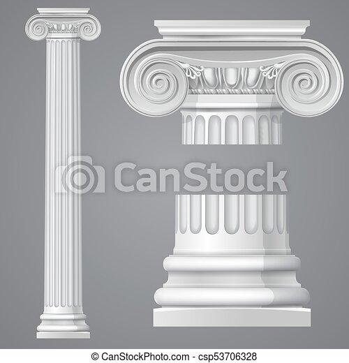 antieke , realistisch, ionische kolom, vrijstaand - csp53706328