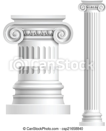 antieke , realistisch, witte , zuil - csp21658840