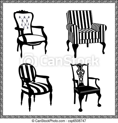 antieke , stoelen, silhouettes, set - csp6508747