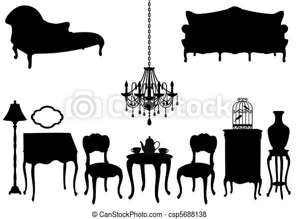 antieke , vector, meubel - csp5688138