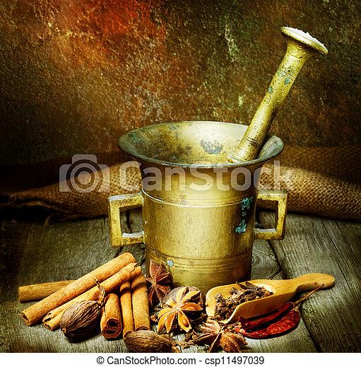 antieke , vijzel, kruiden, stamper - csp11497039