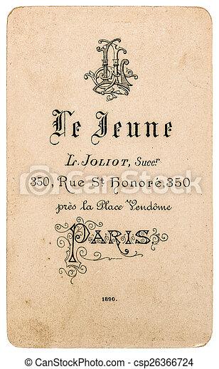antieke , zakelijk, ouderwetse , de, franse , visite., carte, kaart - csp26366724