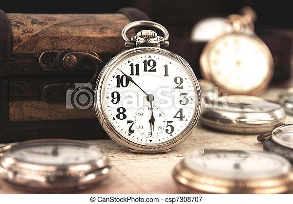 antigüedad, bolsillo, retro, plata, reloj - csp7308707