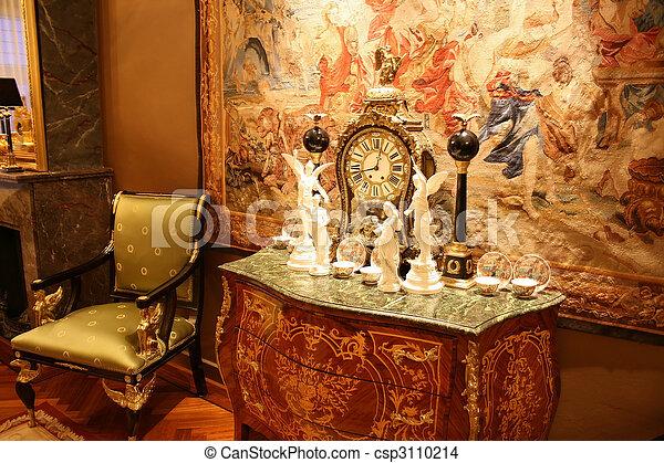 antigüedad, boulle, reloj - csp3110214