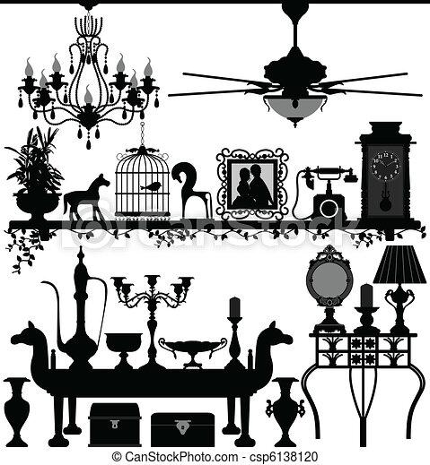 antigüedad, casa decoración, muebles - csp6138120
