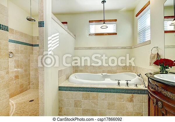 Elegante baño moderno con un armario de almacenamiento de madera antiguo - csp17866092
