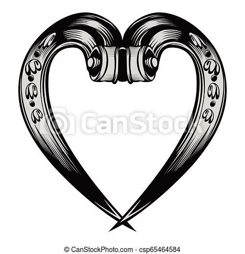 Un antiguo emblema del corazón decorativo - csp65464584