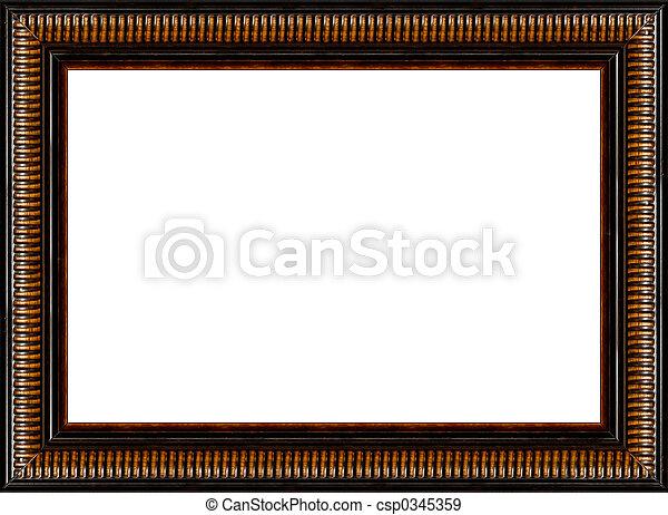 Antigüedad, imagen, marco de madera, aislado, rústico, negro ...