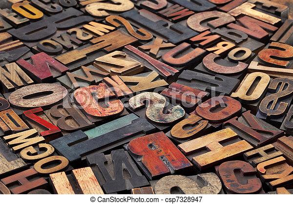 antigüedad, imprimir bloquea, texto impreso - csp7328947