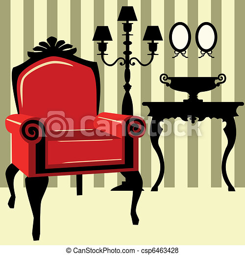 Interior antiguo con sillón rojo - csp6463428