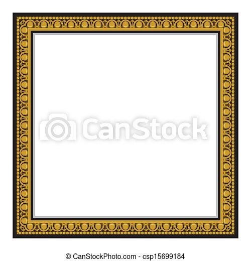 antigüedad, marco, aislado, oro, pizca - csp15699184