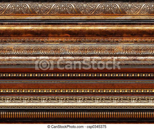 antigüedad, rústico, decorativo, marco, patrones - csp0345375