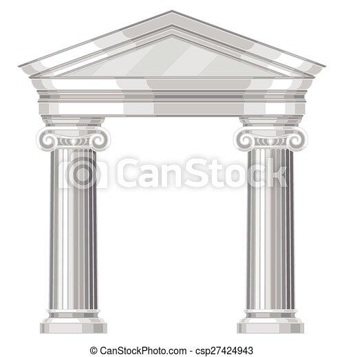 Un templo griego irónico y realista con columnas - csp27424943