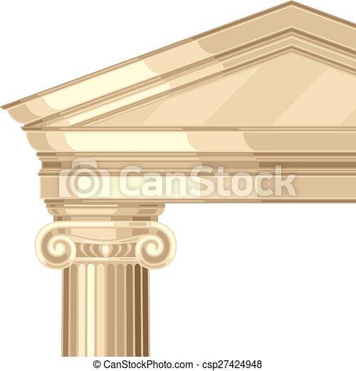 Un templo griego irónico y realista con columnas - csp27424948