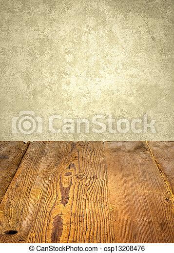 antigüedad, resistido, pared de madera, frente, tabla - csp13208476