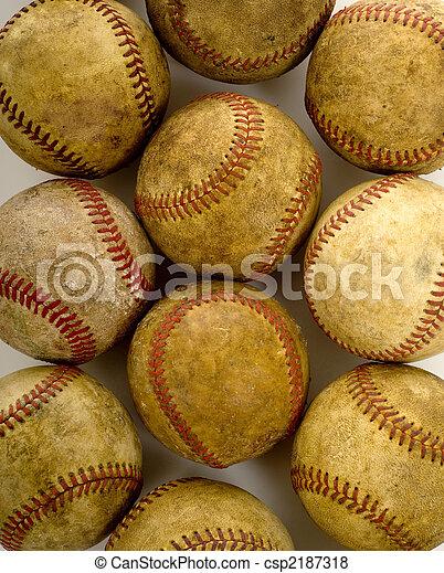 Vintage, béisbols antiguos - csp2187318
