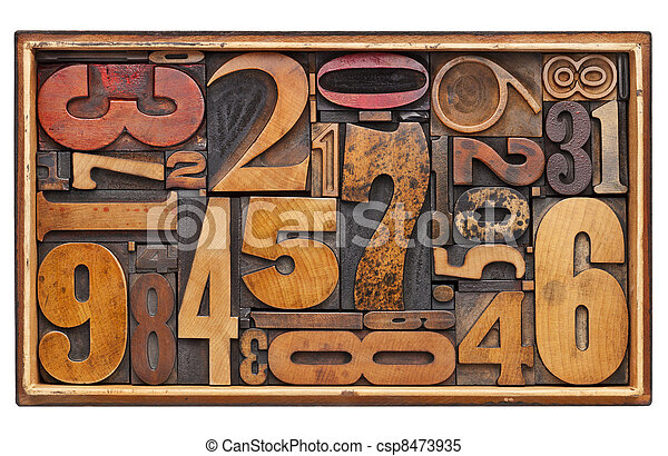 antigüidade, abstratos, madeira, número - csp8473935
