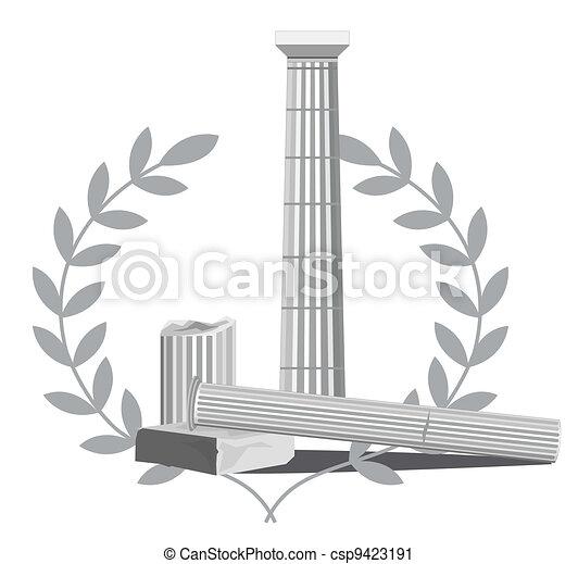 antigüidade, coluna, ruínas - csp9423191