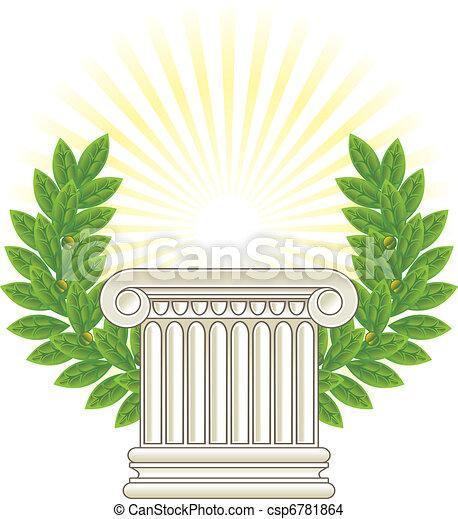 antigüidade, coluna, verde, laurel., grego - csp6781864