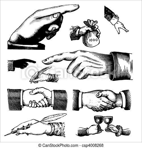 antigüidade, engravings, (vector), mãos - csp4008268