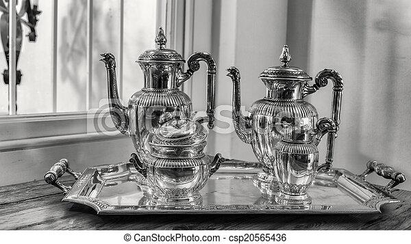 antigüidade, jogo chá, prata - csp20565436