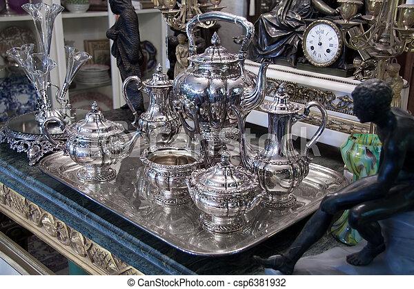 antigüidade, jogo chá, prata - csp6381932